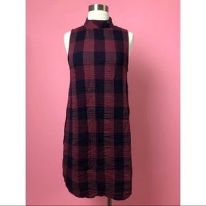 Cloth & Stone plaid red blue swing dress M